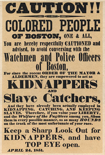 Slave kidnap poster 1851 boston