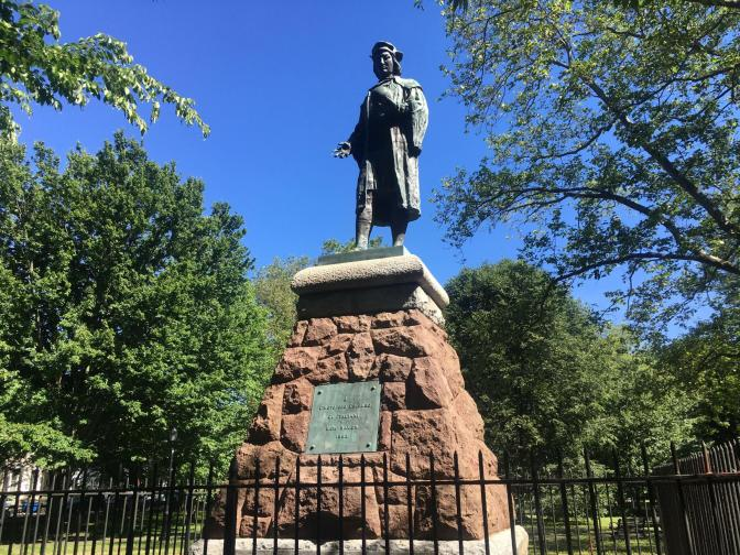 A statue of Christopher Columbus in New Haven's Wooster Square, which was removed.
